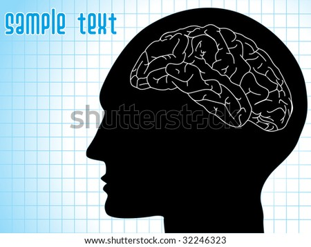 medical background with human brain, vector illustration - stock vector