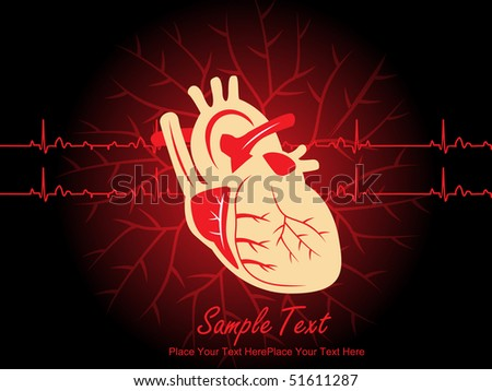 medical background with human heart and sample text