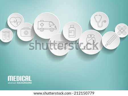 Medical background with icons representing medical and healthcare  topics in 3D bubbles.