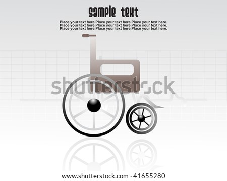 medical background with wheel chair and sample text - stock vector