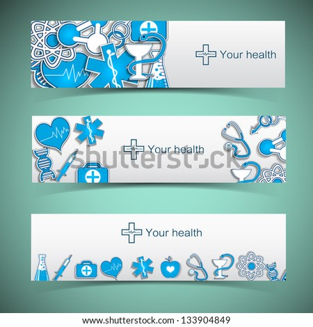 Medical banners set with icons. Vector Illustration, eps 10, contains transparencies. - stock vector