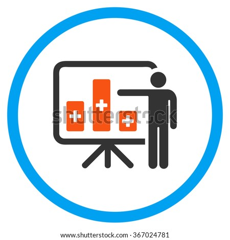 Medical Bar Chart Presentation vector icon. Style is flat circled symbol, orange and blue colors, rounded angles, white background. - stock vector