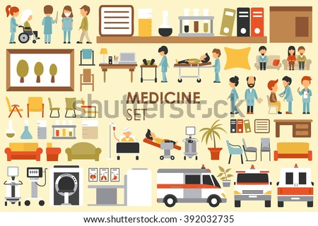 Medical Big Collection in flat design background concept. Infographic elements set with hospital staff doctor and nurse around medicine tools equipment. Icons for your product or illustration - stock vector