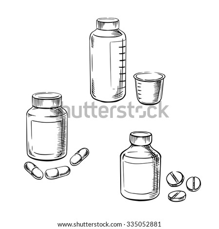 Medical bottles with pills, capsules and cough syrup with measuring cup, for healthcare and medical theme. Sketch style - stock vector