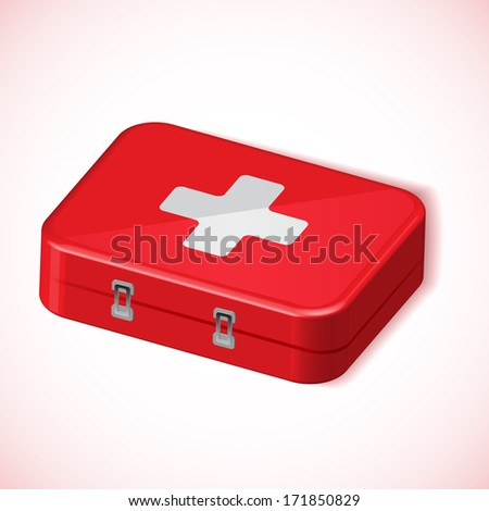 Medical box red health kit vector icon white background