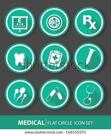 Medical buttons,Green version - stock vector