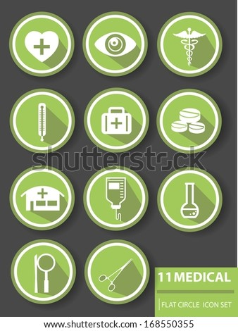 Medical buttons,Green version - stock vector
