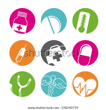 medical buttons over white background vector illustration  - stock vector