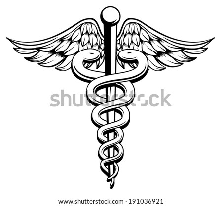 Medical Caduceus black and white  - stock vector