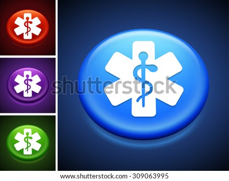 Medical Caduceus on Blue Round Button