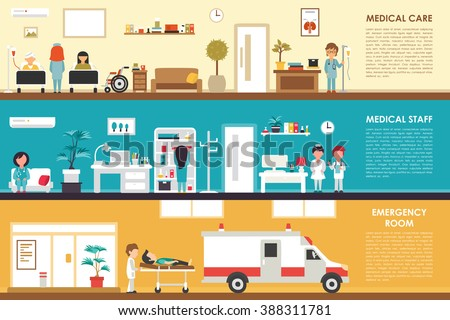 Medical Care and Staff Emergency room flat hospital interior concept web vector illustration. Doctor, Nurse, First Aid, Clinic. Medicine service presentation - stock vector