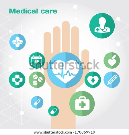 Medical care flat icon composition with hand. Modern vector flat illustration and design element
