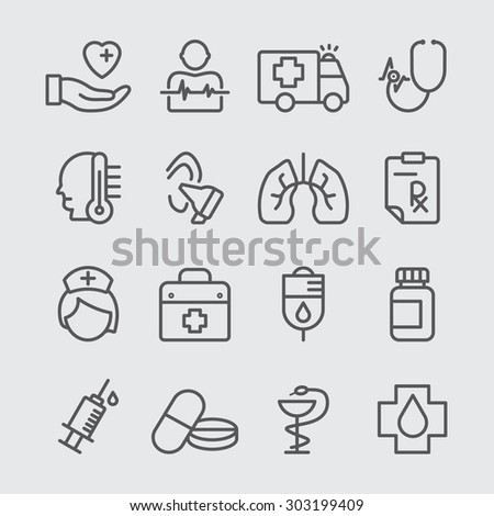 Medical care line icon - stock vector