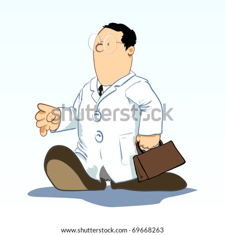 Medical Cartoons - Doctor with bag Vector illustration - stock vector