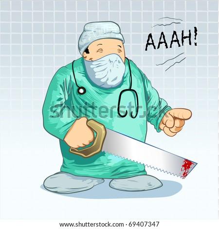 Medical cartoons - Surgeon Parody. Cartoon Surgeon in Uniform holding a Saw! Detailed vector illustration - stock vector