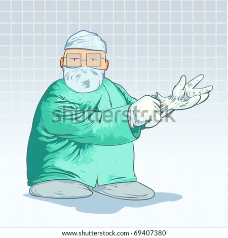 Medical cartoons - Surgeon putting on his gloves Detailed Vector Illustration - stock vector