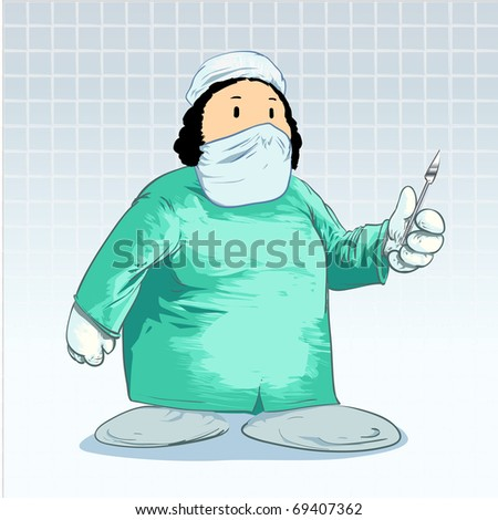 Medical cartoons - Surgeon with scalpel Detailed vector illustration - stock vector