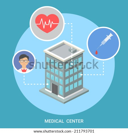 Medical center isometric building, flat icons, stylish background  - stock vector