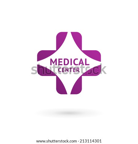 Medical center logo icon design template with cross and plus. Vector sign. - stock vector