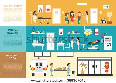 Medical Center Research Emergency Room flat hospital interior concept web vector illustration. Doctor, Nurse, First Aid, Clinic. Medicine service presentation - stock vector
