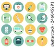 Medical circle Icons set in flat style. Perfect for your design.  - stock photo