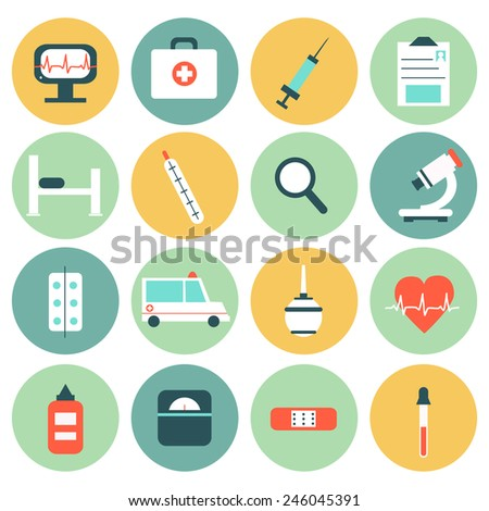 Medical circle Icons set in flat style. Perfect for your design.  - stock vector
