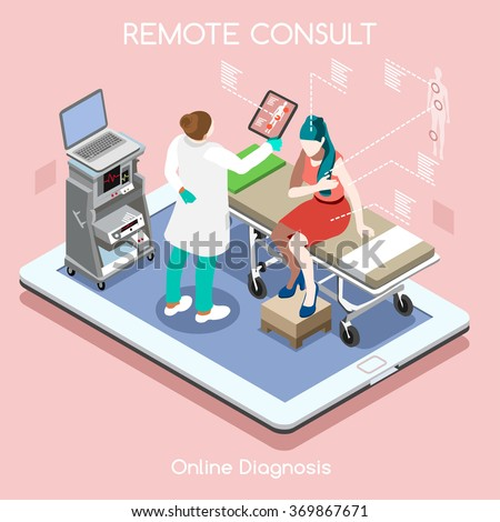 Medical Clinic Consulting App Online Remote Checkup Visit Infographics. Medical Flat 3D Isometric High Tech Device.Healthcare Isometric People Patient and Doctor on Tablet Clinic Hospital Vector Image - stock vector