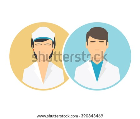 Medical clinic staff flat icons. Doctor and nurse icons. Vector male and female hospital personnel signs - stock vector