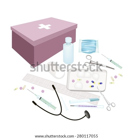Medical Concept, Illustration of First Aid Box Filled with Medical Supplies for Emergencies Isolated on A White Background. - stock vector