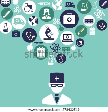 Medical concept. The concept of medicine. Silhouette of doctor with many medical icons   - stock vector
