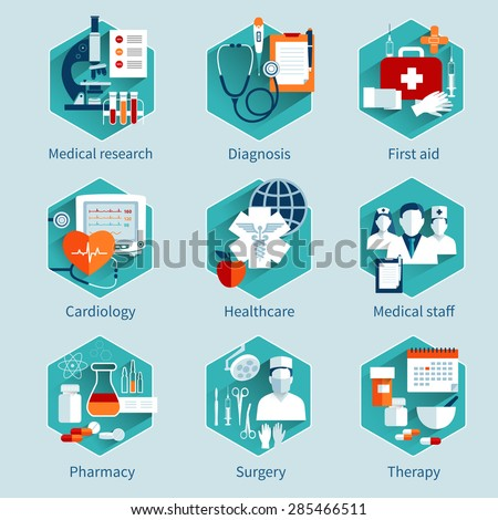Medical concepts set with research diagnosis first aid icons isolated vector illustration - stock vector