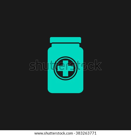 Medical container. Flat simple modern illustration pictogram. Collection concept symbol for infographic project and logo - stock vector