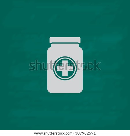 Medical container. Icon. Imitation draw with white chalk on green chalkboard. Flat Pictogram and School board background. Vector illustration symbol - stock vector