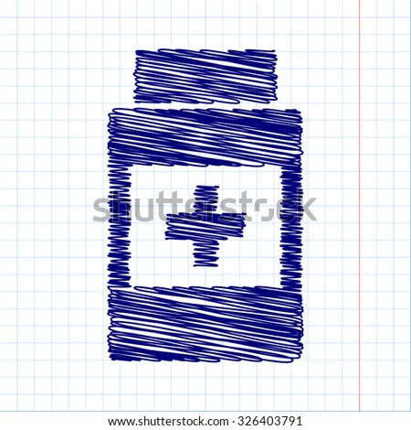 Medical container icon with pen and school paper effect  - stock vector