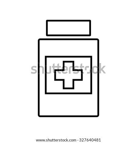 Medical container line icon - stock vector