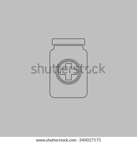 Medical container. Outlne vector icon on grey background - stock vector