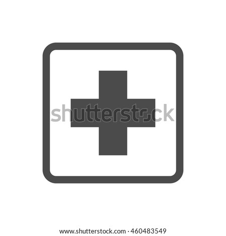 Medical cross icons in single color. Emergency service. - stock vector