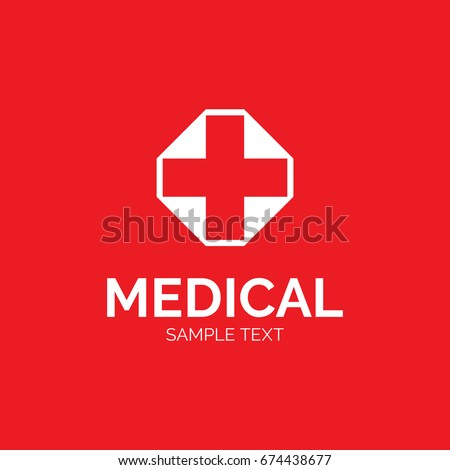Medical Cross Logo Design Template Graphic Stock Vector 674438677