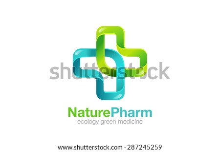 Medical Cross Logo Pharmacy natural eco Clinic design vector template. Medicine Health care Logotype. Ecology Green Healthcare icon. - stock vector