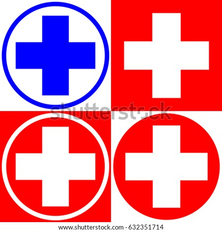 Medical Cross Set Medical Symbols Options Stock Vector 632351714