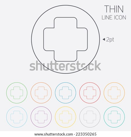 Medical cross sign icon. Diagnostics symbol. Thin line circle web icons with outline. Vector - stock vector