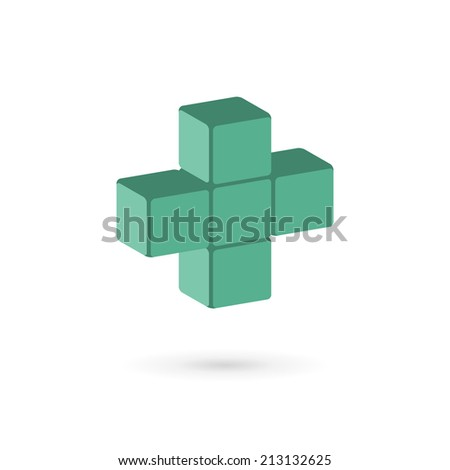 Medical cube logo icon design template with cross and plus. Vector sign. - stock vector