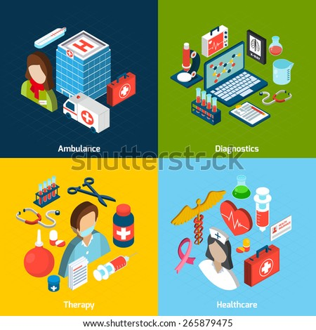 Medical design concept set with ambulance diagnostics therapy healthcare isometric icons isolated vector illustration - stock vector