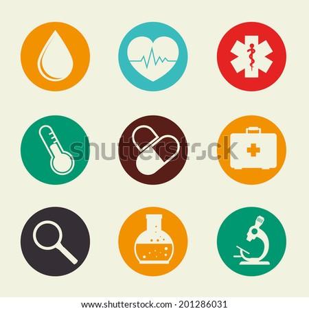 Medical design over beige background, vector illustration - stock vector