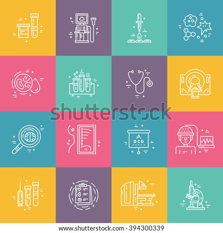 Medical diagnostic process. Line icons of MRI, scan, xray, blood testing and other medical diagnostic process. - stock vector