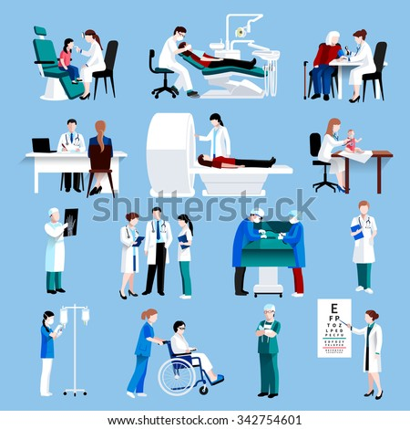 Medical doctor and nurse patients treatments and examination flat  pictograms with healthcare symbols abstract isolated vector illustration - stock vector
