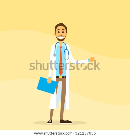 Medical Doctor Hold Hand With Empty Copy Space, Concept Advertisement Flat Vector Illustration - stock vector