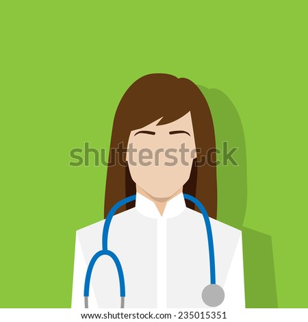 medical doctor profile icon female portrait flat design vector illustration - stock vector