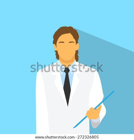 Medical Doctor Profile Icon Male Portrait Flat Design Vector Illustration - stock vector