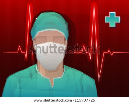 Medical Doctor/Surgeon Vector Background with Heartbeat - stock vector